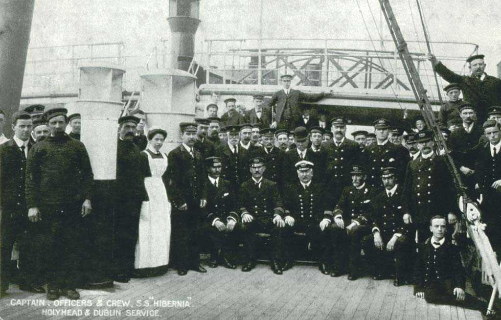 The one time crew of the SS Hibernia Ferry - looks like the 1920's or 1930's