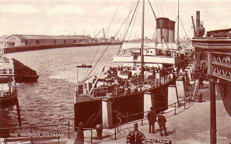 The Holyhead to Ireland Mailboat at the Railway Station - circa 1900's