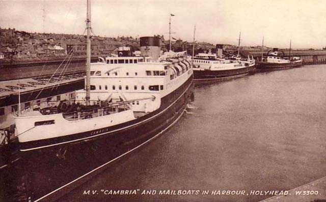 MV Cambria and the other mailboats in Holyhead harbour