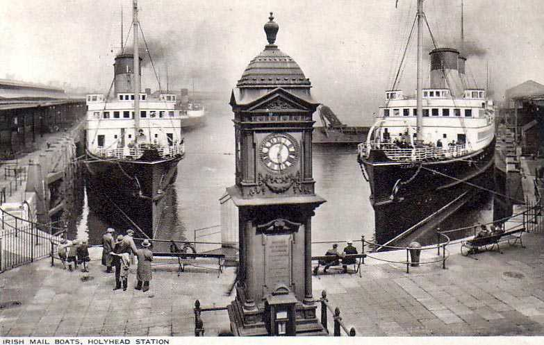 Holyhead's Mailboats in dock at the Railway Station