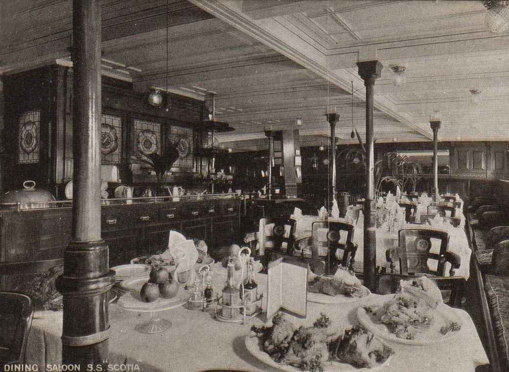 Anglesey, Holyhead, S.S. Scotia Dining Room in 1911