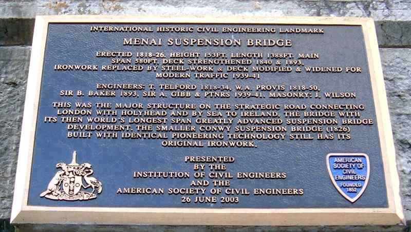 Plaque on the Menai Suspension Bridge