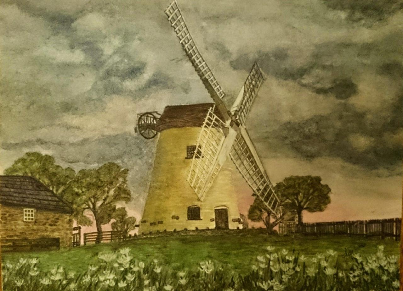 judy gordon painting of llynon windmill